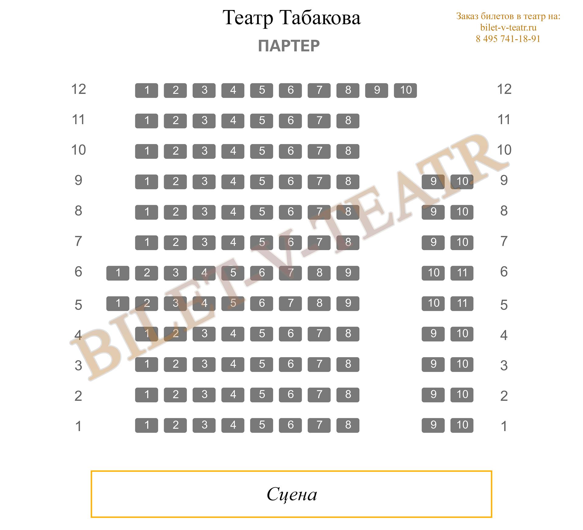 Схема зала театр табакова на сухаревской