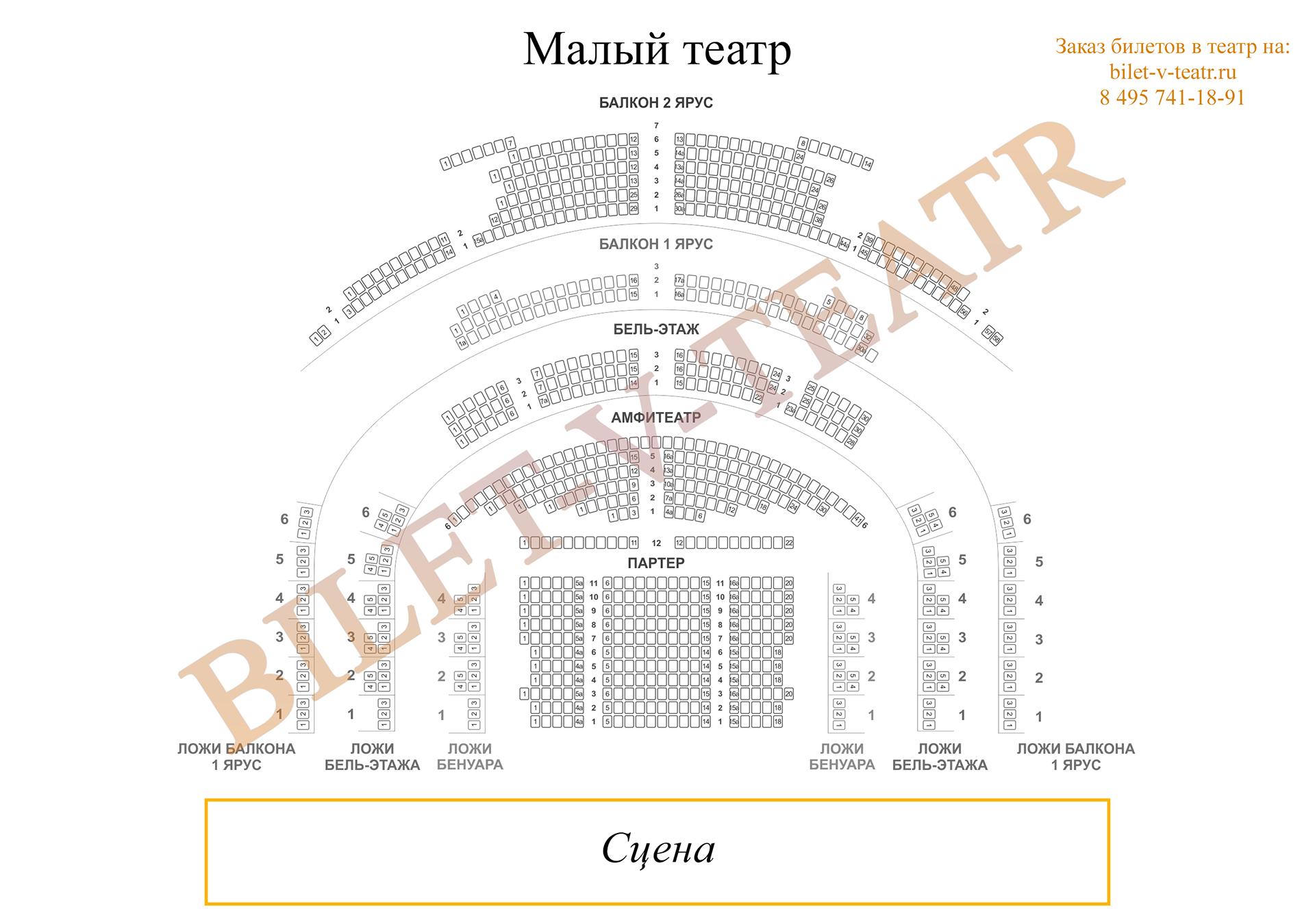 Схема малого театра основной сцены